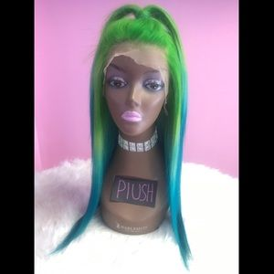 Green to blue ombré lacefront wig